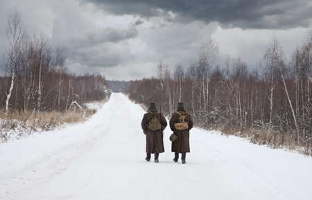 world war two: World War II Russian soldiers in a winter field
