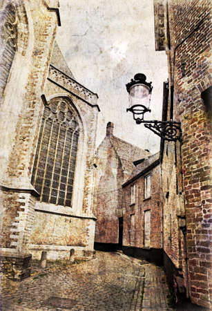 narrow street: Typical narrow streets of Brugge, Belgium  Artistic watercolor style with texture