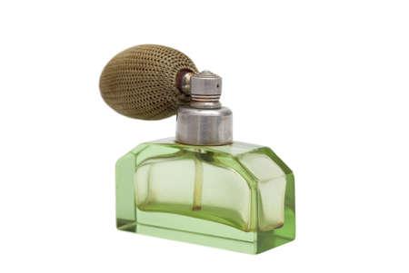 白で隔離されるヴィンテージの香水瓶のスタジオ撮影