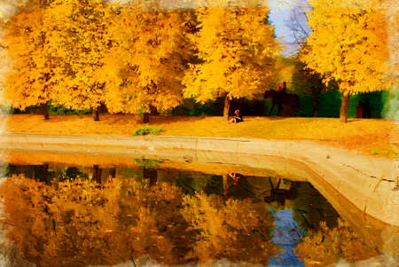 late autumn: City park in the late of autumn. Artistic oil painting style with texture Stock Photo