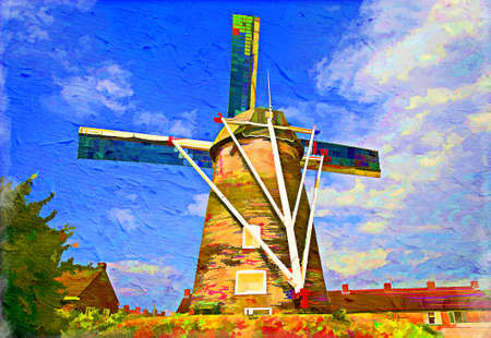 Traditional Dutch windmill. Artistic oil painting style with texture photo