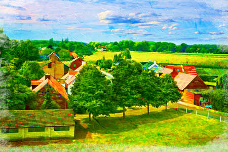 Landscape of Dutch countryside. Artistic oil painting style with texture photo