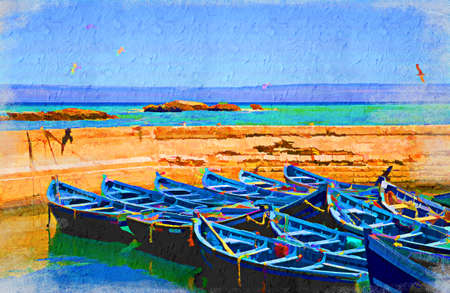 Sea view with gulls and blue boats. Artistic oil painting style with texture 스톡 콘텐츠