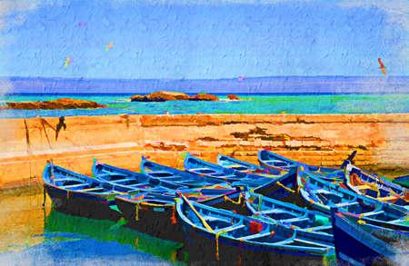 Uitzicht op zee met meeuwen en blauw boten. Artistieke olieverfschilderij stijl met textuur