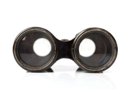 antique binoculars: Old binocular with soft shadow on a white background Stock Photo