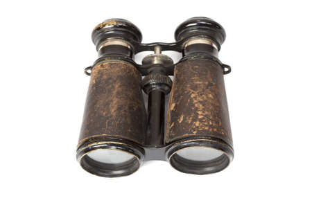 antique binoculars: Rusted, antique binoculars on a white background Stock Photo