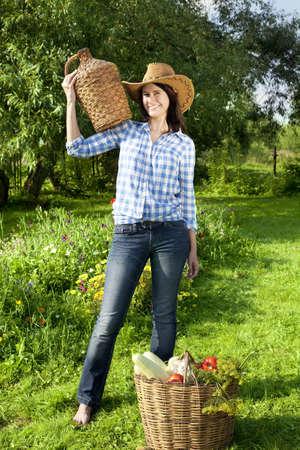 demijohn: Portrait of Caucasian young woman in cowboy hat Stock Photo