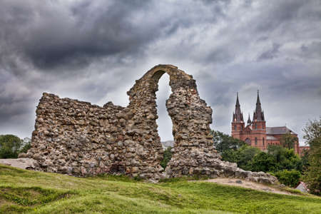 Ruins of the Rezekne Castle Hill with dramatic sky. Rezekne, Latvia Stock Photo - 17457494