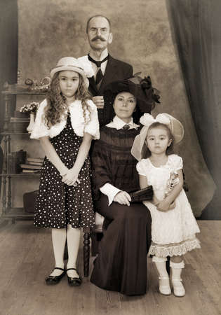 family history: Retro family portrait. Monochrome, grunge textures, intentional styled to the 1900s