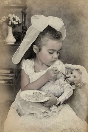 emulation: Little girl portrait. Intentional 1900s style post processing emulation.