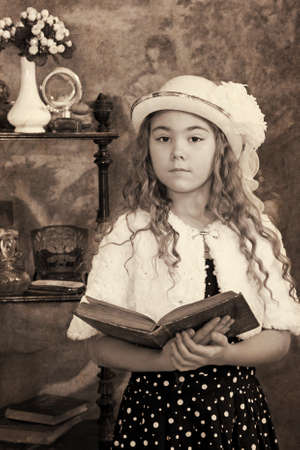 emulation: Little girl portrait. Intentional 1900s style post processing emulation.