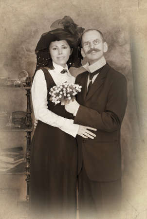 Retro couple portrait. Monochrome, grunge textures, intentional styled to the 1900s  photo