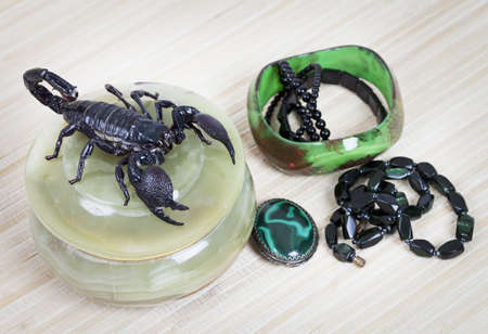 malachite: Emperor Scorpion on a opal jewellery box, malachite brooch and black necklace