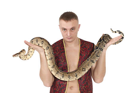 Portrait of Young Caucasian man with boa snake Stock Photo - 18343575