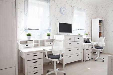schoolroom: Modern interior of kids room in sunlight
