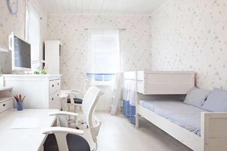 bedroom design: Modern interior of kids bedroom in sunlight