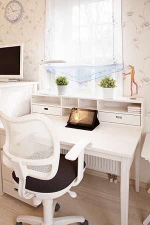 Modern interior of childrens room in sunlight closeup  photo