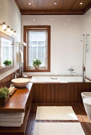 Eigentijds woonhuis badkamer interieur in het zonlicht