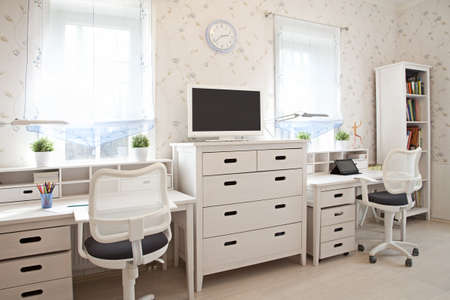 Modern interior of kids room in sunlight  photo