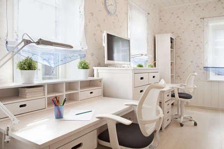 Modern interior of schoolroom in sunlight closeup photo
