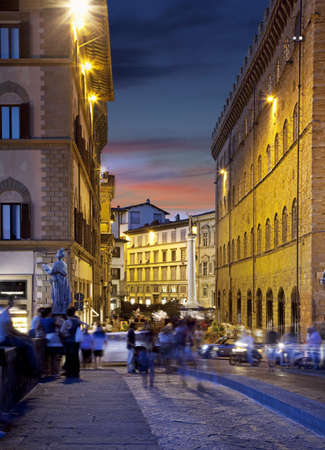 Night streets in Firenze  Tuscany, Italy  at night photo