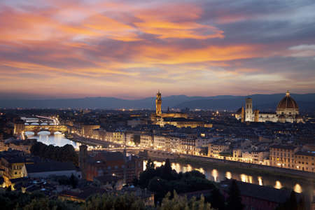 Florence cityscape at night from Michelangelo Hill, Italy  photo