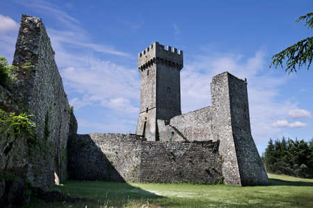 stronghold: Ancient castle Rocca in Radicofani town  Tuscany, Italy