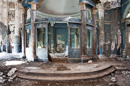 blasted: Interior shot of destroyed altar of Abandoned Church Stock Photo