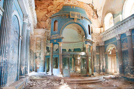 Interior shot of old Abandoned Church in sunlight Banco de Imagens