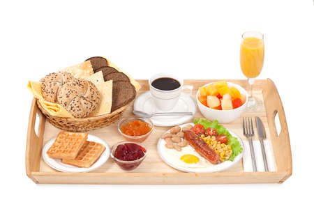 veggie tray: Breakfast tray consisting fried egg with sausage, coffee, jam and bread on white Stock Photo