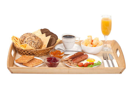 veggie tray: Breakfast tray with fried egg, sausages, coffee, jam and bread on white