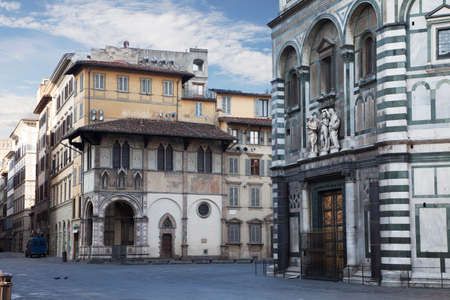 Streets of Florence at early morning. Tuscany, Italy  photo