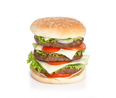King size hamburger isolated on white  photo