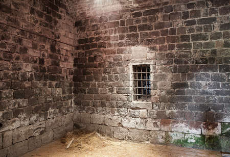 basement: An abandoned prison cell at ancient castle Rocca in Radicofani  Italy