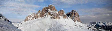 fassa: Panoramic view of Dolomites in Val di Fassa  Italy Stock Photo