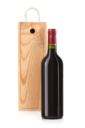 Wine bottle still life with wooden box   photo