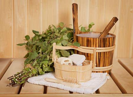Sauna ready accessories - broom, tub, towel and scoop