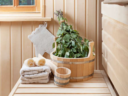 sauna: Steam bath room with traditional sauna accessories  Stock Photo