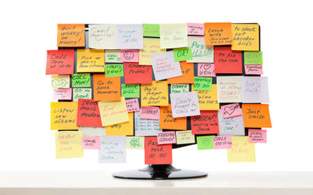 Computer monitor with post-it notes on it