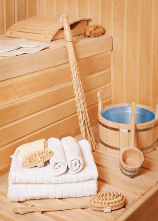Steam bath room with traditional sauna accessories  Stock Photo