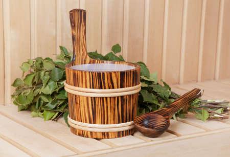 Sauna accessories with birch besom, close up