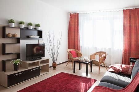 interior shot: Interior shot of a modern living room in sunlight