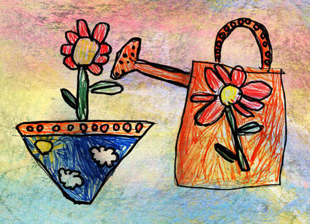 wateringcan: childrens drawing of watering-can with flower. Genuine artwork by a 5-year-old child Stock Photo
