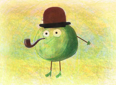 Childrens artwork of a green apple wearing hat and smoking the pipe photo