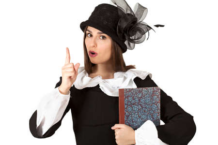 outmoded: Portrait of young woman in the role of Mary Poppins