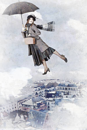 'one woman only': Mary Poppins flies on an umbrella over the city. Artistic watercolor style with texture