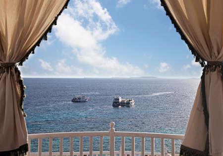 sharm el sheikh: Seascape with some yachts anchored. Sharm El Sheikh, Egypt Stock Photo