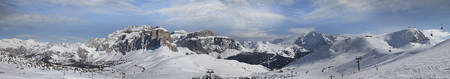 val: Panoramic view of Dolomites in winter. Val di Fassa, Italy Stock Photo