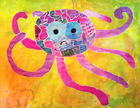 devilfish: Aquarelle octopus drawing by a five years old child