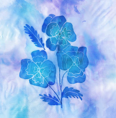 stilllife: Batic artwork of blue flowers made by eleven years old child